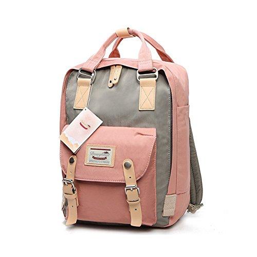 LIYULI Damen outdoor Rucksack Mode Schulrucksack für Mädchen Backpack Rucksack schulrucksack rucksäcke mit Laptopfach für Camping Outdoor Sport (Rosa und grau)