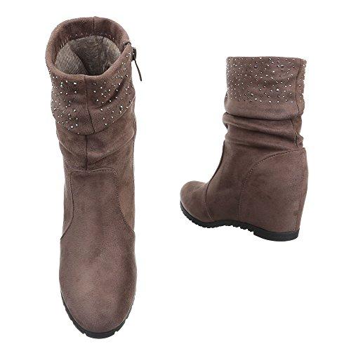 Damen Schuhe Keilabsatz Plateau Reißverschluss Keilstiefel Stiefel Keilabsatz/ Wedge Braun Grau