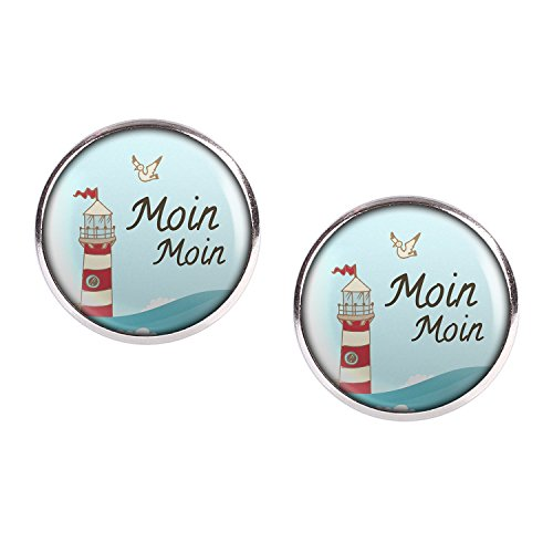 Mylery Ohrstecker Paar mit Motiv Moin Moin Möwe Leuchtturm Meer See Wellen silber 16mm