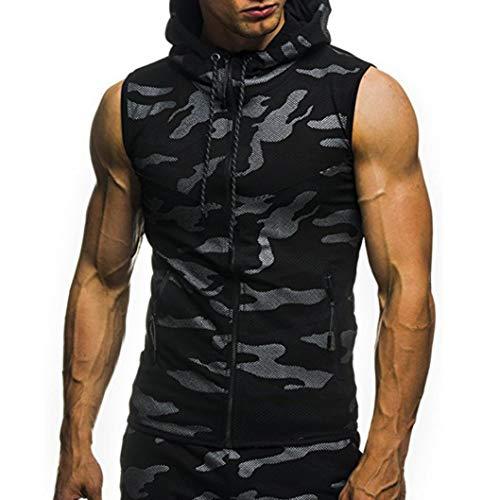 Cashmere-shirt-jacke (Herren Camouflage Hoodie Ärmellos Langarm Kapuzenpullover Shirt Slim Fit Training Sports Long Sleeve Sleeveless Streetwear Hoody Kordelzug Kapuzen-Sweatshirt Jacke(Schwarz,EU-46/CN-M))