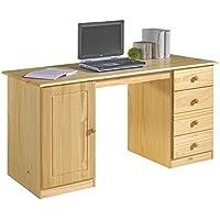 Preisvergleich für IDIMEX Schreibtisch Computertisch PC-Schreibtisch, Kiefer massiv in natur lackiert mit vier Schubladen
