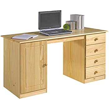 schreibtisch computertisch pc schreibtisch kiefer massiv in natur lackiert mit vier schubladen. Black Bedroom Furniture Sets. Home Design Ideas