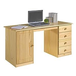 Schreibtisch computertisch pc schreibtisch kiefer massiv for Schreibtisch amazon