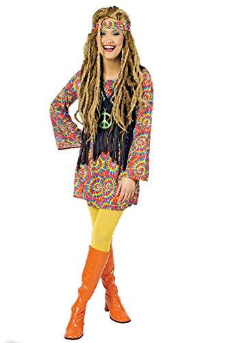 70er Damen Klamotten Jahre (Karneval Klamotten Hippie Kleid Kostüm Damen Flower-Power Kostüm Damen Peace Kleid mit Weste Psycho inkl. Stirnband Damen-Kostüm Größe)