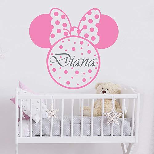 Mädchen Name Wandtattoo Minnie Mouse Wandaufkleber Kinderzimmer Kinderzimmer Dekor personalisiert Name Wandtattoo niedlichen Bogen Wandbilder -104x114cm