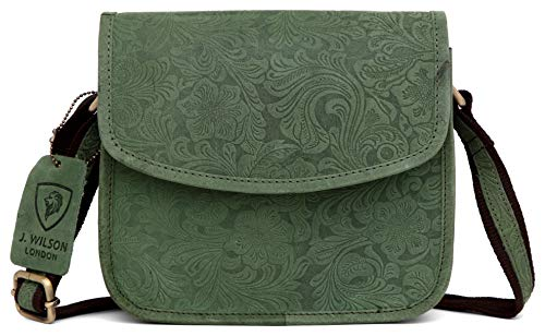 J. Wilson London, Damen Satchel-Tasche Grün Distressed Green M - Distressed Satchel