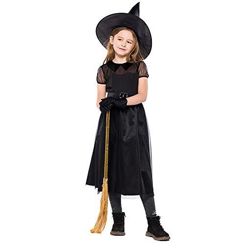 FNKDOR Costume Halloween Kostüm Kinder Mädchen Hexe Schminke Party Kleid Mit Hut Handschuh Gürtel Anzug Für Make-up Cosplay Leistung Schwarz - Muffin Mädchen Kostüm
