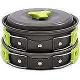NBKLS Campeggio Set Pot/1-2 Persone Outdoor Set Pot/Portatile Combinazione Set pot/11 Pezzi di Wild Camping Pot,Green