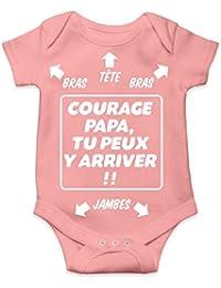 Okiwoki Body bébé Humour - Courage Papa 6c480842ded