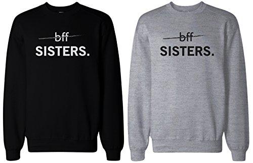 365 Printing felpe coordinate BFF Sister, nero e grigio  Grey Sinistra-M/Destra-S