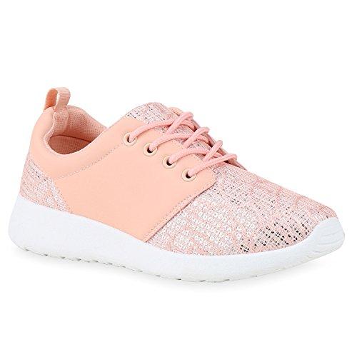 Damen Laufschuhe | Modische Sportchuhe| Sneaker Profilsohle |Glitzer Pailletten Sneakers | Runners Snake Blumen Rosa Glatt Pailletten mypnyKt6L