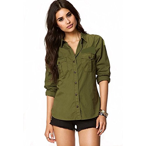 C.Cozami Women's Casual Long Sleeves Olive Green/Wine/Black Shirts (Olive Green, Medium)