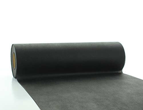 Vlies-Tischläufer Tischband Schwarz 30cmx20m | abwaschbar | Tischdeckenrolle stoffähnlich | Feier | Geburtstag | Party (auf der Rolle) (Schwarz) (Schwarze Tischdecken Papier Rollen)