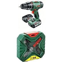 Bosch PSB 14,4 LI-2 - Atornillador/taladro de percusión con 2 baterías de litio (36 W, 14,4 V) + Bosch 2 607 010 608 - Maletín X-Line de 34 unidades para taladrar y atornillar - 172 x 46 x 164