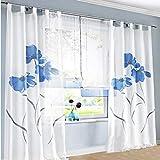 SIMPVALE 2 stücks Gardinenschal Gardine Print Blumen Vorhang für Wohnzimmer Schlafzimmer Schlaufenschal Breit 150cm (Hoehe 225cm, Blau)