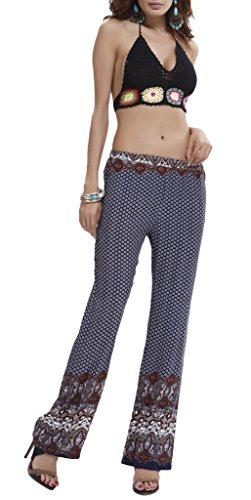 Bigood Pantalon Long Femme Coton Pantalons Imprimés Droit Plage Piscine Voyage Sport Casual Noir Cercle