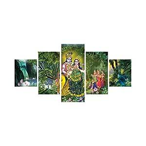 eCraftIndia 'Radha Krishna' Painting (Canvas Print, 127 cm x 60.96 cm, Set of 5, CPGKB59054)