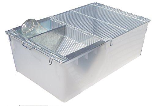 Nagerkäfig, Zuchtbox 59/39/20 mit Deckel, Trennblech und Trinkflasche