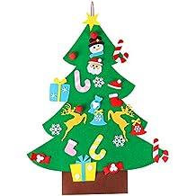 OULII Arbol de Navidad de Fieltro con 26pcs Adornos Arbol de Navidad Desmontables Año Nuevo Navidad