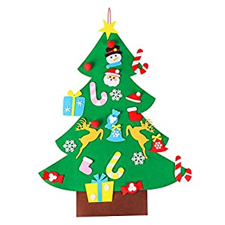 OULII Arbol de Navidad de Fieltro con 26pcs Adornos Arbol de Navidad Desmontables Año Nuevo Navidad Regalo para Niños