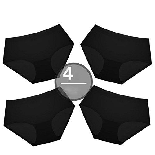 Bikinihöschen Frau 4 Packungen Traceless Ice Silk Reine Baumwolle Datei Sexy Paket-Hüfte-Mädchen-Dreieck In Der Taille A8
