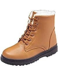 da516608dd365 Baijiaye Femme Bottes de Neige Hiver Fourrées Bottines Cheville Chaude  Haute Demi Snow Boots Plate Chaussures