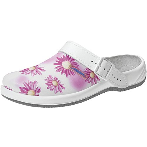 Abeba 8230-36 Arrow Chaussures sabot avec motif Taille 36 Blanc/Rose