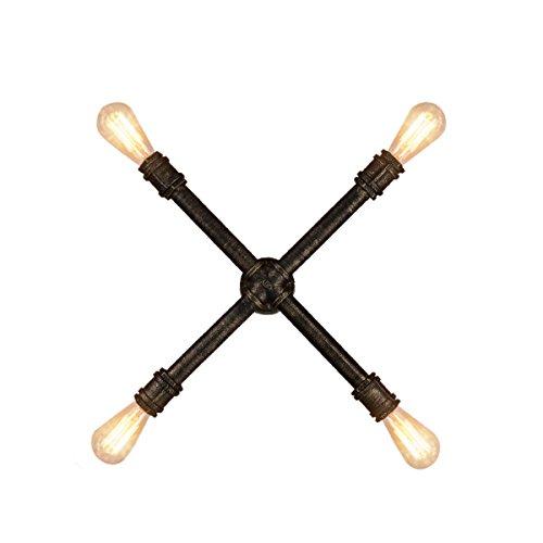 Wand-Sconce Wasser-Rohr-Wand-Lampe Retro Industrielle Wind-Eisen-Wand-Lampe 4 Lampe Querwand-Lampe 55cm / 21.65