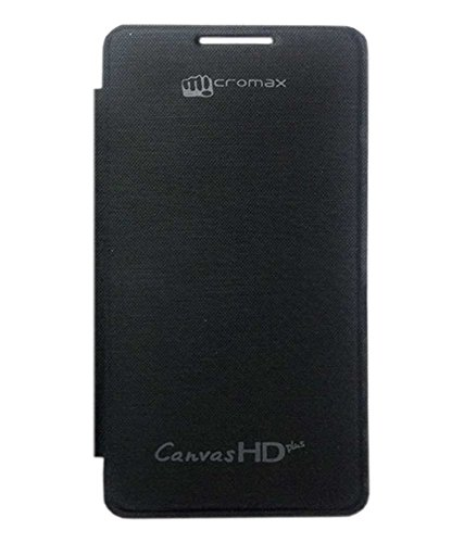 TBZ Premium Flip Back Replace Cover Case -Black for Micromax Canvas HD Plus A190