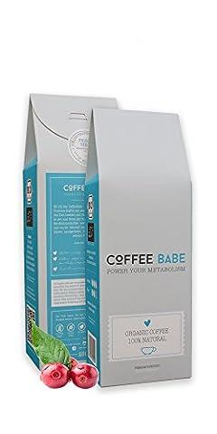 CoffeeBabe – café arabica biologique de haute qualité à base de super-aliments bio de choix (yerba maté, rooibos rouge, thé vert matcha, Garcinia Cambogia)   Café minceur bio   Torréfaction artisanale en Allemagne   Certifié bio à 100 %