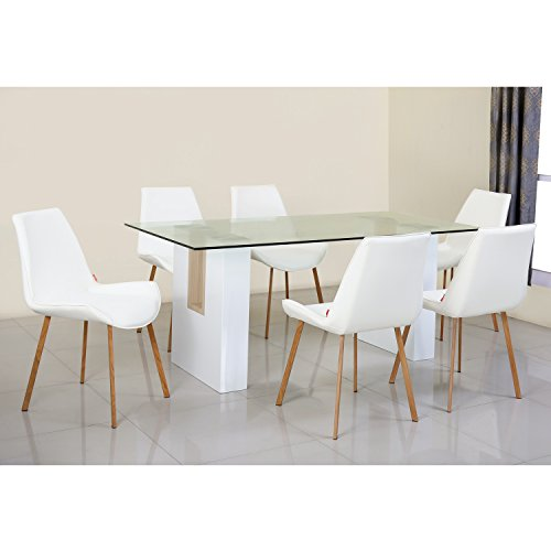 @home by Nilkamal Fusion Six Seater Dining Table Set (High Gloss Finish, White)