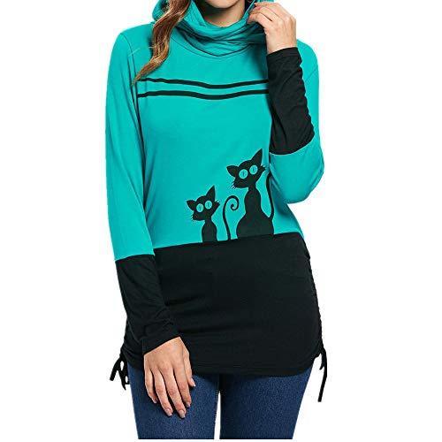 VEMOW Heißer Damen Frauen Langarm Rundhals Unregelmäßige Top Musical Notes Print Casual Täglichen Sport Bluse Sweatshirt Pullover(Schwarz, EU-38/CN-L)