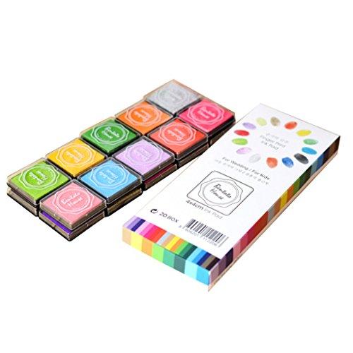 B Baosity Stempelkissen Fingerabdruck Set 20 Farben, Finger Bunt Stamp Pad für Papier Handwerk Stoff, Scrapbook, Malerei - Scrapbook-stoff