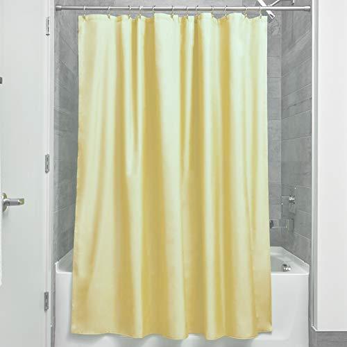 iDesign Duschvorhang aus Stoff | wasserdichter Duschvorhang mit verstärktem Saum | waschbarer Textil Duschvorhang in der Größe 183,0 cm x 183,0 cm | Polyester gelb