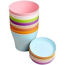 """KINGLAKE Colorati vasi in plastica per fiori, per interni, per ufficio e casa con vassoi, plastica, Multi, 8 Pcs 4"""""""