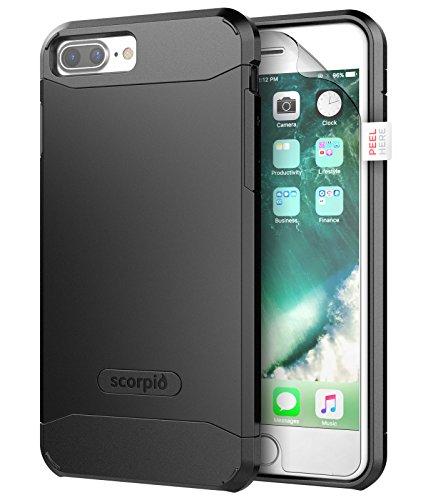 "iPhone 7 Plus 5.5"" Case [Scorpio R5] Premium Protection Cover w/ Screen Guard (Gunmetal Gray) Black"