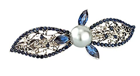 SaySure - Unique Faux Pearl Leaves Crystal Rhinestone Hair Clip