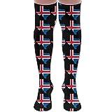 Unisex Iceland Flag Texas Map Knee High Compression Thigh High Socks Tube Socks 19.7 inch