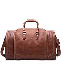 a8f66150f1 Borsa per Bagagli di Grande capacità Borsa da Viaggio a Tracolla per Borsa  da Viaggio in Vera Pelle Vintage (Colore…