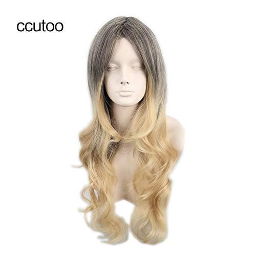 Ccutoo 68cm gewellte lange braune Ombre blonde synthetische Perücke Cosplay-Kostüm-Perücken der hohen Temperatur geben Verschiffen 26inches Muli Farbe frei