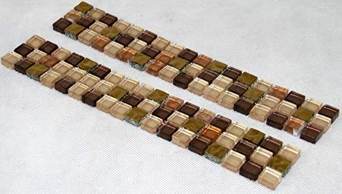 Bordüre Fliesenbordüre Glas 298x47x8 mm gold kupfer Mosaikfliesen Mosaikbordüre Bad WC #S01B - Kupfer-mosaik-glas