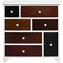 Rebecca Srl Comoda Cajonera Armario 7 Cajone ATLANTICA Madera Blanco Marron Colores Design Urban Contemporaneo Dormitorio Salon (Cod. RE4336)