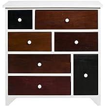 Mobili Rebecca® Comoda Cajonera Armario 7 Cajone ATLANTICA Madera Blanco Marron Colores Design Urban Contemporaneo Dormitorio Salon (Cod. RE4336)