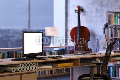 """Poster-Bild 120 x 80 cm: """"Monitor auf Schreibtisch im Büro"""", Bild auf Poster"""