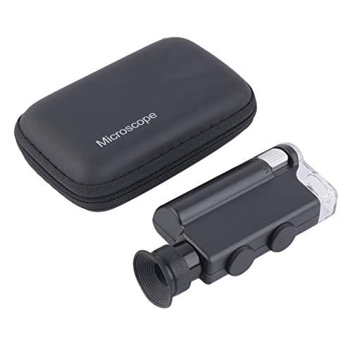 Pocket microscopio 200-240X illuminato Magnifier portatile LED della luce UV palmare