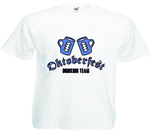 T-Shirt Oktoberfest Wiesn München Junggesellenabschied für Frauen Männer und Kinder in allen Größen XS bis 4XL oder Kinder 104 bis 164 Motiv Nr.04 Herren-Weiß