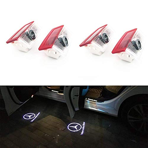 HConce Autotür Logo Licht, 4 Pack Led Auto Projektor Logo Ghost Shadow licht türbeleuchtung Willkommen Lampe for GLC GLE GLS GLA A B E Class W212 W166 W176 W205 W246 X164