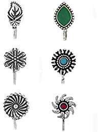 Anuradha Art Silver Finish Classy Designer Trendy Combo Press On Nose Pin Clip for Women/Girls