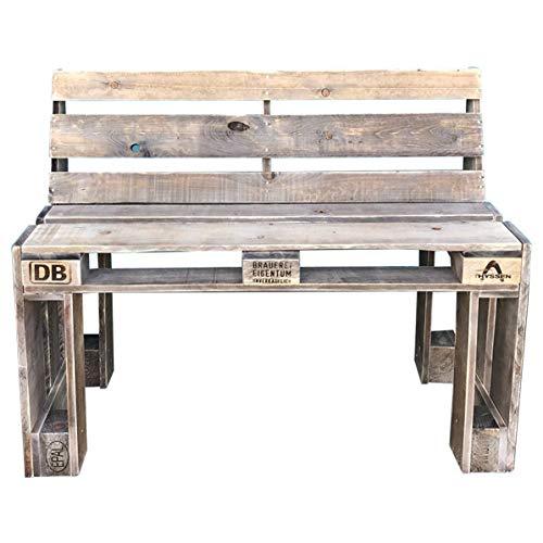 Palettenmöbel Hohe Sitzbankmit Lehne Bonny-High aus ippc zertifizierten Europaletten, jedes Teil ist einzigartig und Wird in Deutschland in Handarbeit gefertigt