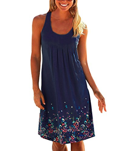 Flying Rabbit Femmes Mode Robe Sans Manches Col Rond Floral Imprime - Occasionnelle Sexy Lâche Mini Robe Court de Plage (X-Large, Bleu Marine)
